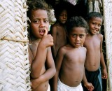 Some of the children on the island of Takuu. A central theme of the film is the question of the future for these children