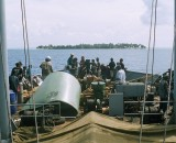 View from aboard the Sankamap as it approaches the atoll. The Sankamap is the island's only means of transport to and from mainland Papua New Guinea, and arrives intermittently and without much advance warning
